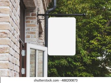 Empty outdoor signage mockup to add company logo