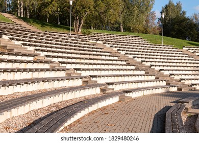 Empty outdoor stage chairs. Outdoor theater or concert venue
