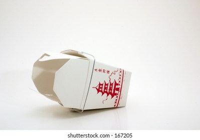 Empty and overturned generic take out box from Chinese fast food restaurant...late night snack.