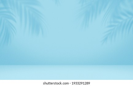 Empty palm shadow blue color texture pattern cement wall background. Used for presentation  business nature organic cosmetic products for sale shop online. Summer tropical beach with minimal concept