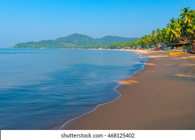 empty Palolem Beach during the morning hours