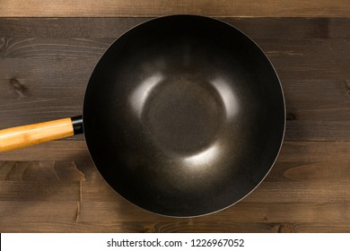 Empty pan isolated on wooden background