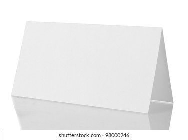 empty paper card isolated on white background