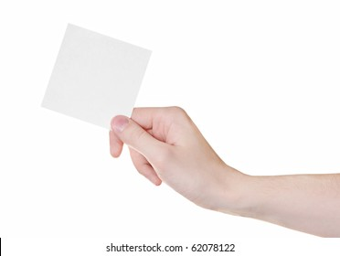 Empty paper card in male hand isolated on white background