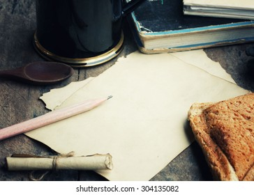 empty paper note with bread wheat and coffee cup ,vintage paper with space ,Vintage Style.