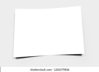 Empty paper sheet on a grey surface. 3D rendering