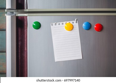 Empty paper sheet on refrigerator door. Note paper with magnetic. Valentine send text love message. Memory day note story everyday.