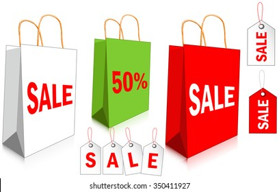 Empty paper shopping bags with SALE labels