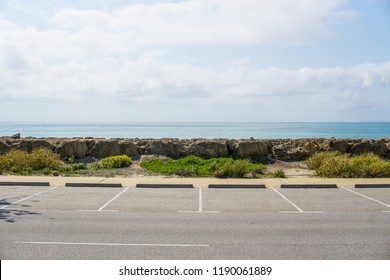 Empty parking lot in front of the beach