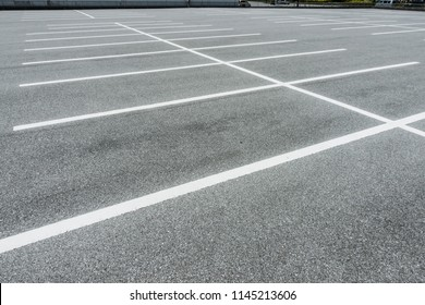 Empty parking lot, Vacant Parking Lot, Parking lane painting on floor, copy space