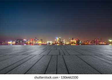 empty parking lots at downtown city, china.