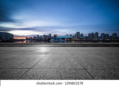 empty parking lots  of vancouver at sunset.