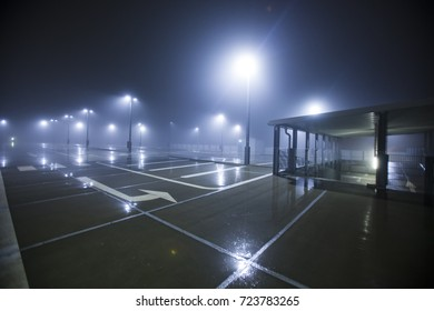 empty parking on rainy night