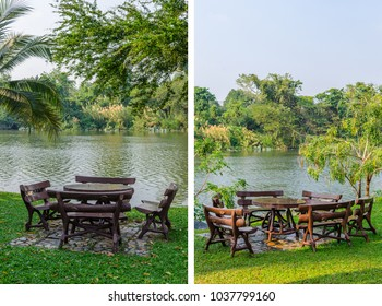 Empty patio furniture at garden in tropical river