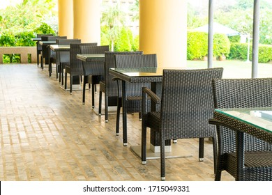 empty patio table and chair