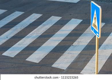 Empty pedestrian road crosswalk, zebra. background