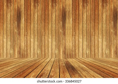 empty perspective wood room for you design.