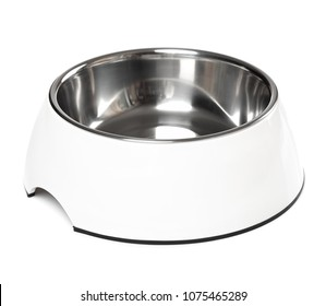 Empty pets bowl isolated on white background. Metal cat or dog bowl.