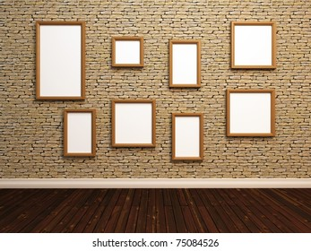 Empty photo frames on stone tile wall. 3d illustration