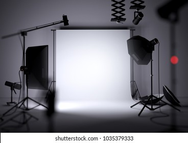 An empty photo studio background with photography lighting equipment, 3D illustration