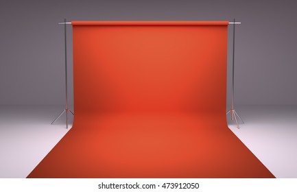 Empty photography studio background red template 3d render