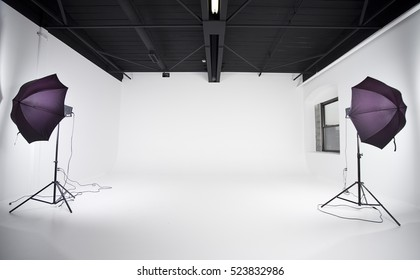 Empty photography studio. Plenty of space to insert your model or copy.