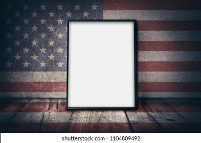 Empty picture frame with USA national flag as background