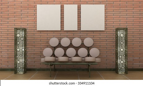 Empty picture frames in classic interior background on the decorative brick wall with marble floor. Copy space image. 3d render
