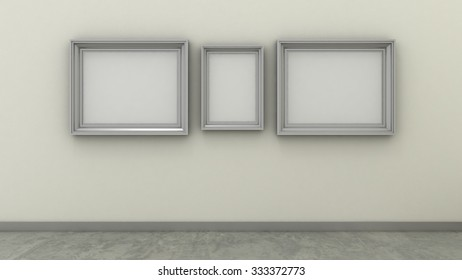 Empty picture frames in modern interior background on the whitewash paint wall with concrete floor. Copy space image.