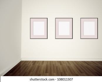 Empty pictures on wall.
