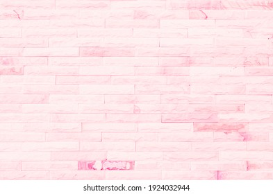 Empty Pink brick wall texture background in the bedroom at lovely. Brickwork stonework interior, rock old clean concrete grid uneven abstract weathered brick design, horizontal architecture wallpaper.