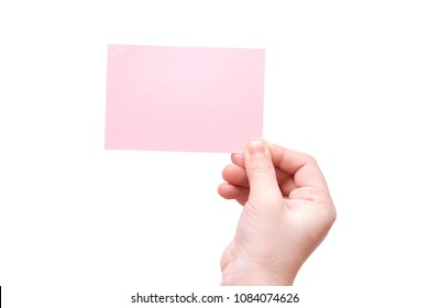 Empty pink business card in hand kid