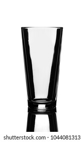Empty Pint Beer Glass and Reflection Isolated on White Background