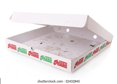 A empty pizza box isolated on white