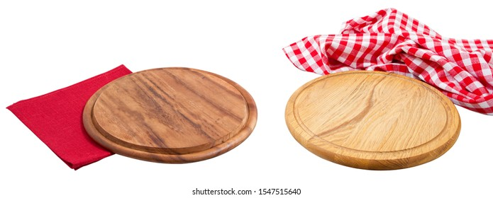 Empty pizza wooden boards mock up isolated over white, elegant tablecloth and napkin copy space