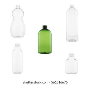 empty plastic bottles isolated on the white background