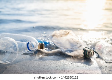 Empty plastic bottles on the beach, seashore and water pollution concept. Trash (empty beverage packages) thrown away at the seaside, close-up view in direct sunlight