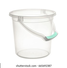 empty plastic bucket isolated on white
