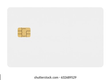 Empty plastic card with a chip on white background