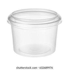 Empty plastic container isolated on white background