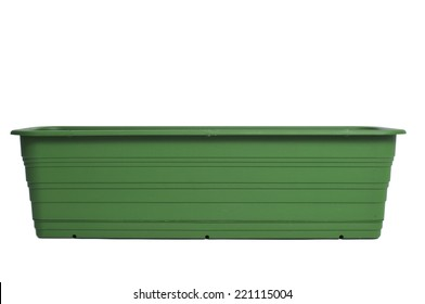 an empty plastic flower box on a white background