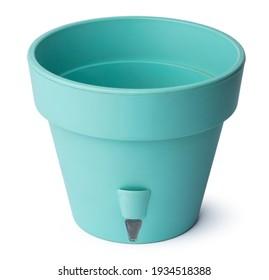 Empty plastic flowerpot isolated on white background
