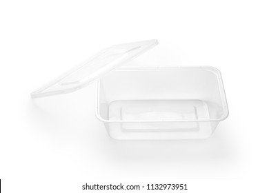 Empty plastic food box isolated on white background