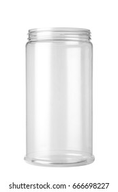 Empty plastic jar isolated on a white background