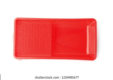 Empty plastic paint tray on white background, top view