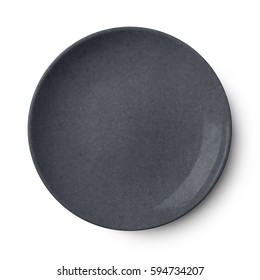 Empty plastic round plate isolated on white with clipping path