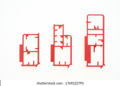 empty plastic Sprue or model kit assembly toy injection molding set after cut part on white background