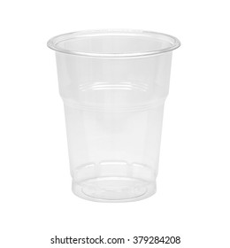 Empty plastic takeaway cup isolated on white background including clipping path