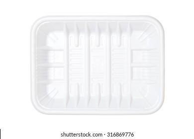 Empty plastic tray isolated on white background