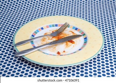 Empty plat with remnants food